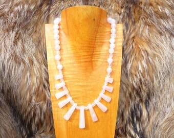 On sale Rose Quartz Fan Beaded Necklace Semiprecious Gemstone Chunky
