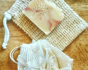 Natural Sisal Soap pocket, soap saver. Ramie scrubbies soap pouf. Eco friendly washcloth