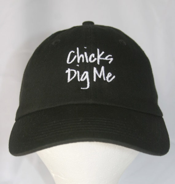 Chicks Dig Me - Polo Style Ball Cap (Black with White Stitching)