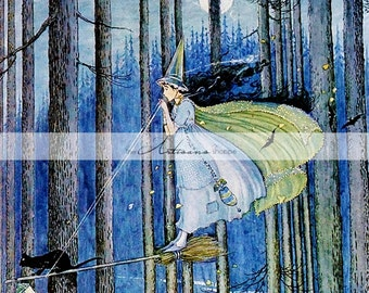 The Witch on Her Broom Stick by Ida Rentoul Outhwaite - Digital Download Printable Instant Art - Paper Crafts Scrapbook Altered Art