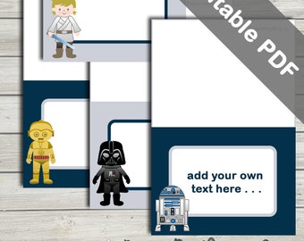 Star Wars Party Decoration: Food Labels (Tent Style). Editable PDF.