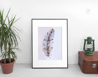 """Art, Feather Drawing, Watercolor Pen Painting, Original Artwork, Blue and Brown Feather Art No. 4, 6 x 8"""""""