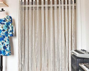 MACRAMÉ CURTAIN / DIVIDER. retro  style. Organic cotton rope macramé curtain/room divider. hand made. varios sizes available.