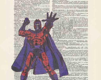 Marvel Comics Magneto on dictionary page print