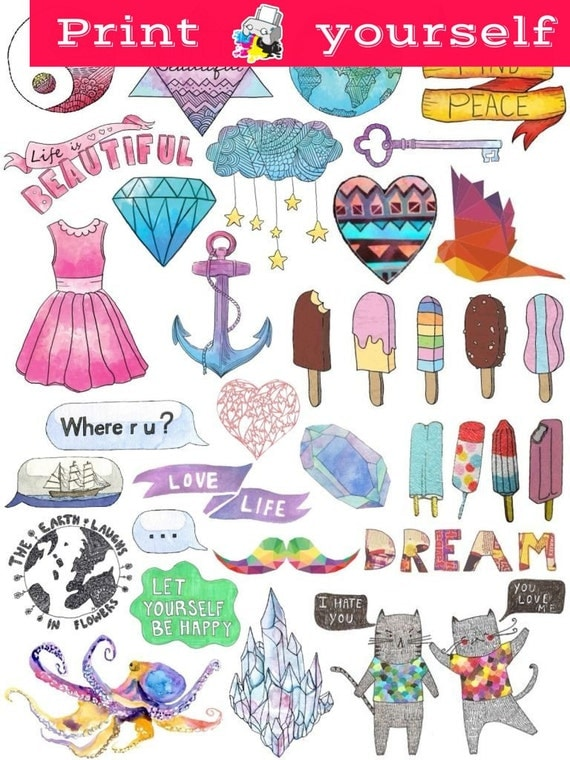 Mockup printable tumblr stickers stickers set of stickers decals instant download pdf and png files
