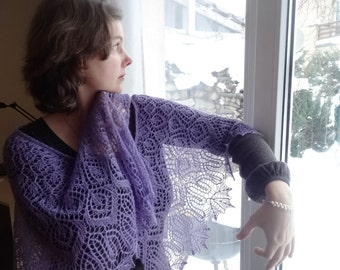 Beaded Hand Knit Violet Lace Shawlette.