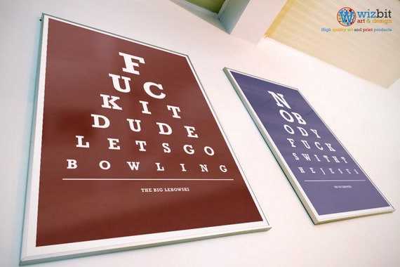 le big lebowski affiche impression art eye test charte. Black Bedroom Furniture Sets. Home Design Ideas