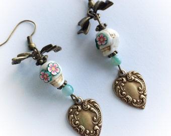 Earrings rockabilly burlesque rockabella - candyskull - sugarskull - tattoo - old school - pin up - sacred heart