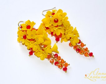 Yellow Floral earrings Yellow Dangle Drop Earrings Yellow orange earrings Bright yellow floral earring Yellow romantic earrings gift for her