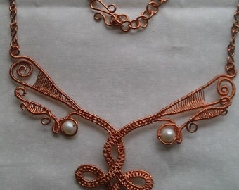 wire wrapped necklace, copper wire necklace, fresh water pearl necklace, handmade jewelry
