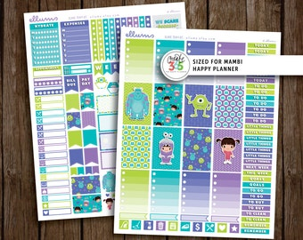 MAMBI Scare Team Weekly Kit | PRINTABLE pdf jpg | Disney Monsters Inc Inspired Planner Stickers | fits Mambi Happy Planner | Boo Sulley Mike