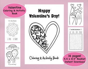 Valentine Coloring Book & Activity Book, Valentine's Day Coloring Pages, Kid's Valentines, Printable Valentine, Printable Coloring Book