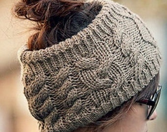 Headband, Ear warmer, Empty Hat, Cable Knit Black or grey