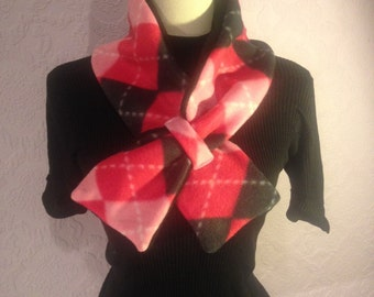 Pink Argyle Bow Scarf.  Double-Sided Fleece Neckwarmer