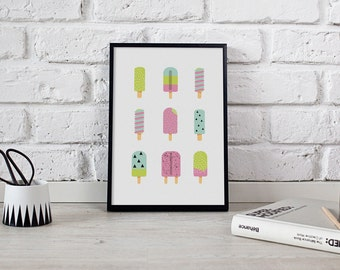 Ice Cream Print, Kids Poster, Ice Cream Poster, Kids Room Decor, Kitchen Wall Art, Illustration Ice Cream, Kitchen Decor, Colorful Print.