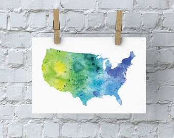 USA Watercolor Map - Giclée Print of Hand Painted Original Art - 5 Colors to Choose From
