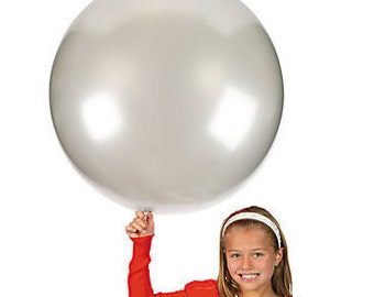 """Large Round Silver Latex Balloons/ 4 CT Large Silver Balloons/ XL 24"""" Inch Round Silver Balloons/ Silver Party Balloons"""