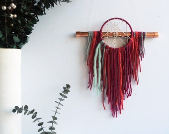 Pink Dream Catcher, Boho Christmas Gift for Girls, Pink Home Decor, Modern Boho Home, Dreamcatcher Wall Hanging, Bohemian Fiber Art