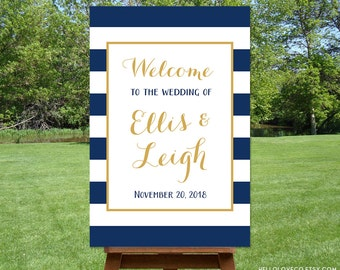 PRINTABLE Large Wedding Welcome Sign, Custom Wedding Sign, Entrance Sign, Nautical Wedding, Navy Blue and White Stripes DIGITAL FILE