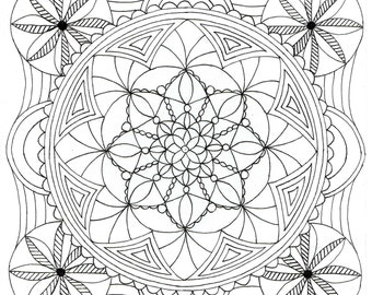 Adult Colouring Page - Square Mandala