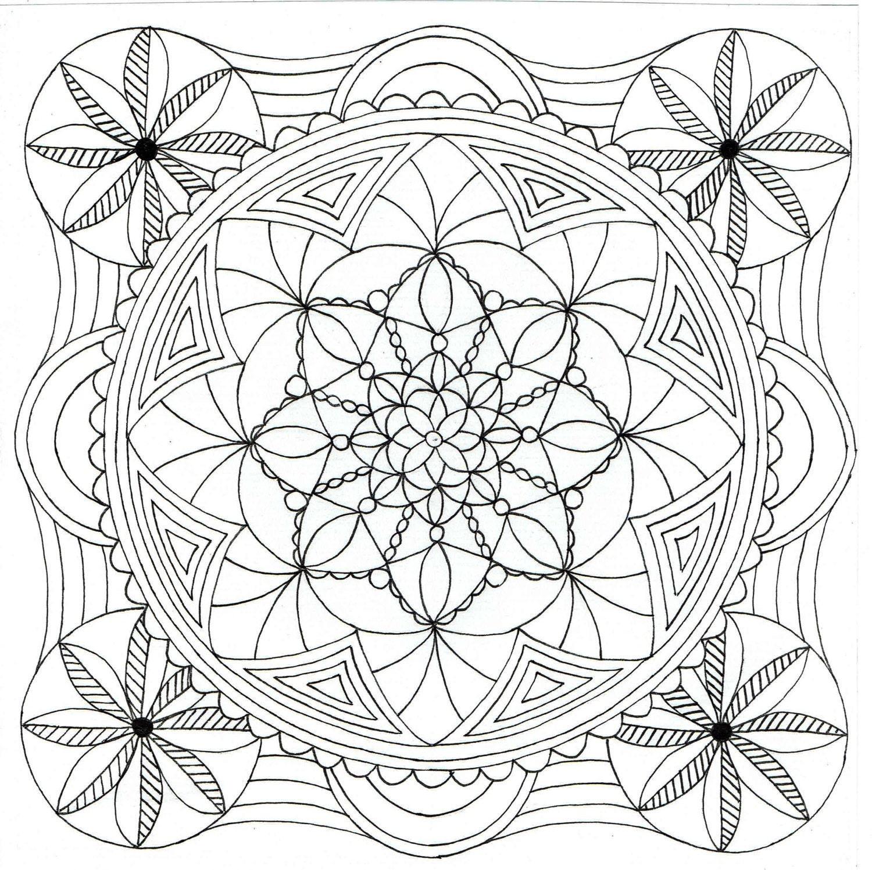 Square mandala coloring pages tessalation coloring pages for Square coloring pages
