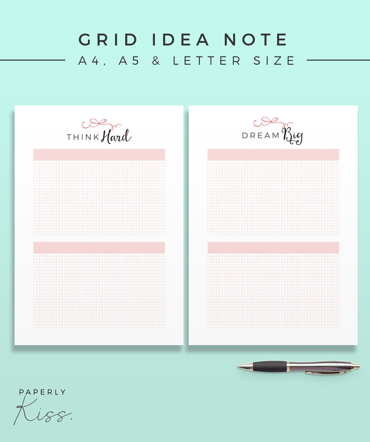 Grid Idea Note Printable Planner Inserts Productivity Modern