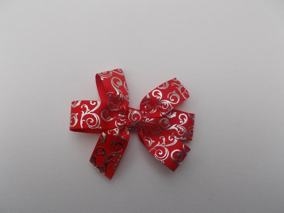 Red Silver Foil Hairbow