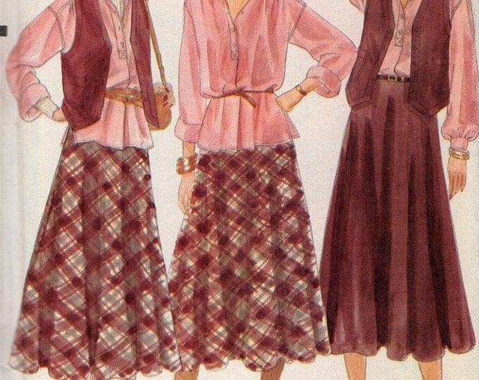 Free Us Ship Sewing Pattern Vogue 7192 Vintage Retro 1970s 70s  Drop Shoulder Blouse Skirt Vest Size 10 Bust 32.5 Uncut