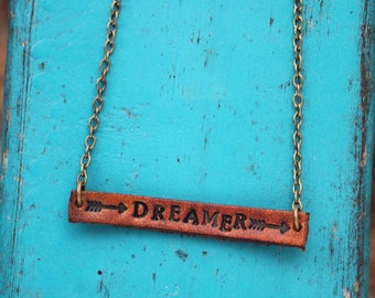 """Leather """"Dreamer"""" Necklace Southwestern, Western, Bohemian Handcrafted Leather Jewelry"""