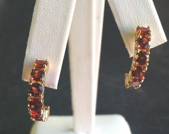 14k Orange Garnet Hoop Earrings Yellow Gold