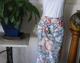 Recycled retro floral maxi wrap skirt