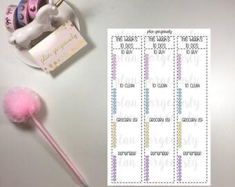 Weekly To Do List Sticker, Erin Condren Side Bar Sticker, To Do List Sticker, Planner Sticker