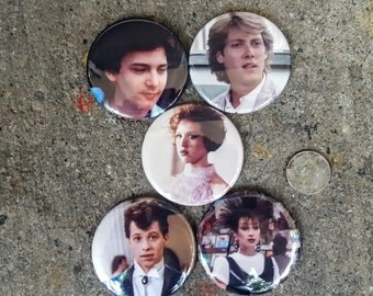 """Magnets or Pinbacks Set of 5 2.25"""" 58mm Pretty in Pink Movie Molly Ringwald John Hughes Andrew McCarthy James Spader Annie Potts 80s Movie"""