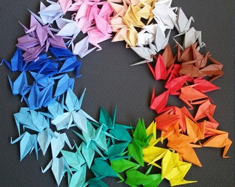 100 Handmade Small Origami Paper Cranes - 20 colors - Great for weddings, parties and baby showers