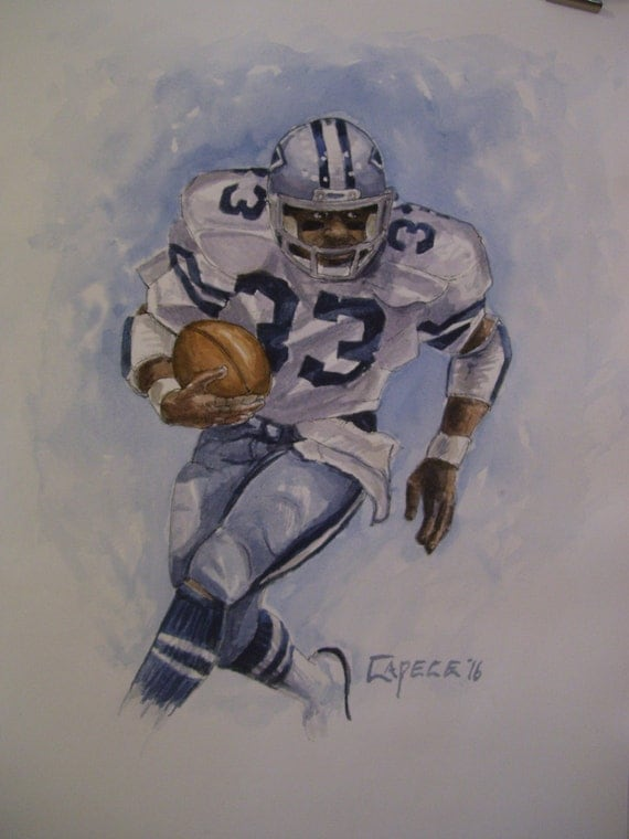 Tony Dorsett, Cowboys Running Back, 16x20 Watercolor/Pen & Ink,One of a Kind, Not a Print,Free Shipping Code SKYE2