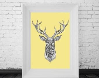 Reindeer Print Yellow, Digital Print, Minimal Animal Art, Modern Wall Poster, Abstract Art, Modern Deer Poster