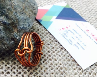 Friendship Copper Ring, Copper Jewery, Copper Wire Wrap, Ring Jewery