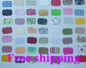 50 frame/tag/label cutouts. 50 diecuts. Different colors and paper thickness. Free shipping.