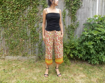Paisley Drawstring cropped pants Capris | Indian pattern cut-off trousers Beach Cover | Wrinkle resist Shorts Bottoms suitable for plus size