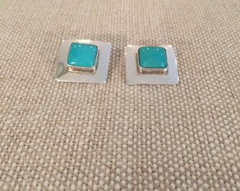 Sterling Silver and Turquoise Post Earrings       *t
