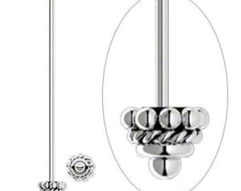 Pair (2) of Antiqued Sterling Silver Headpins, 4mm Beaded Round, 2 in, 21 gauge