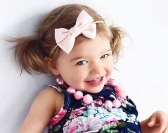 Light Pink Bow  - Light Pink Hair Bow - Light Pink Fabric Hair Bow - Light Pink Bow Hair Clip - Light Pink Bow Clip - Fabric Bow