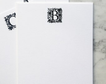 Signature Stationery | Monogrammed Personal Stationery Set | 5 printed flat-style notecards