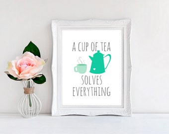 """Tea Kitchen Wall Print, A Cup of Tea Solves Everything - Print - Wall Decor - Illustration ~ Kitchen 8""""x10"""""""
