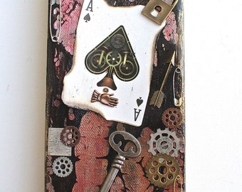 Steampunk Canvas Art Aces,  Ace Art,  Playing Cards Art, Unique, One of a KInd, Mixed Media, Wall Decor