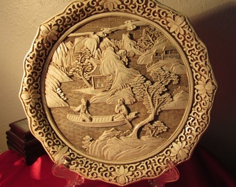 """Sale Vintage Ivory Dynasty Plate by Arnalt Imports 9 1/2"""" Collectable  1982"""