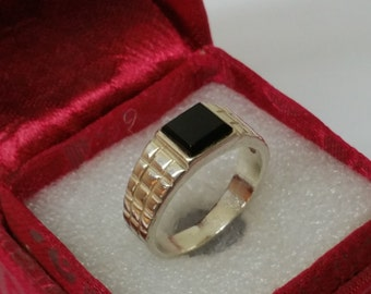 Ring 925 Silver with Onyx, 20 mm, size 10.2 men SR302