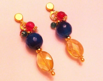 Golden & Semiprecious stones Earrings