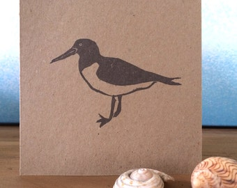 Hand Printed Oystercatcher Greetings Card - Block Printed on Recycled Brown Card