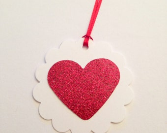 Set of 10 Valentine's Day gift tags, red heart gift tags